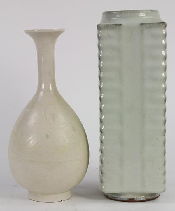 Chinese Bottle and Cong Vase