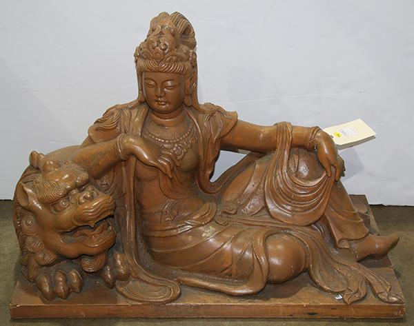Chinese Wood Sculpture of a Bodhisattva