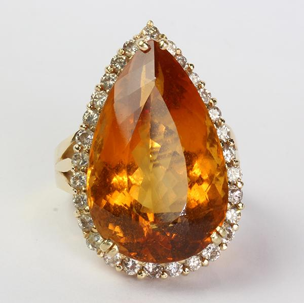 Citrine, diamond and 14k yellow gold ring