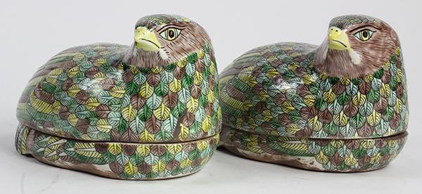 Chinese Porcelain Quail Form Boxes