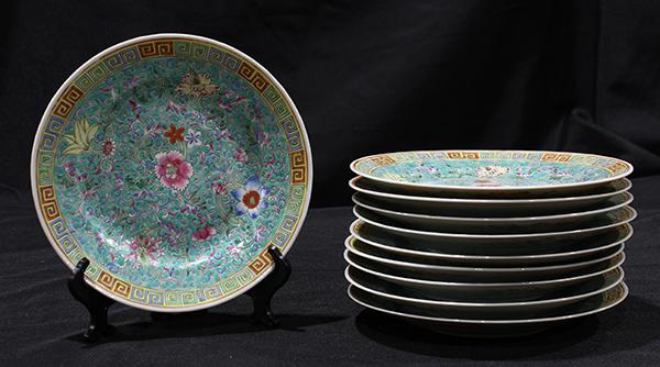 Chinese Turquoise Ground Floral Plates
