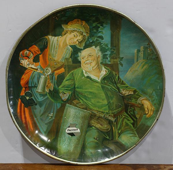 Falstaff advertising tin tray