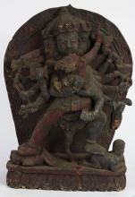 Himalayan Polychrome Wood Sculpture