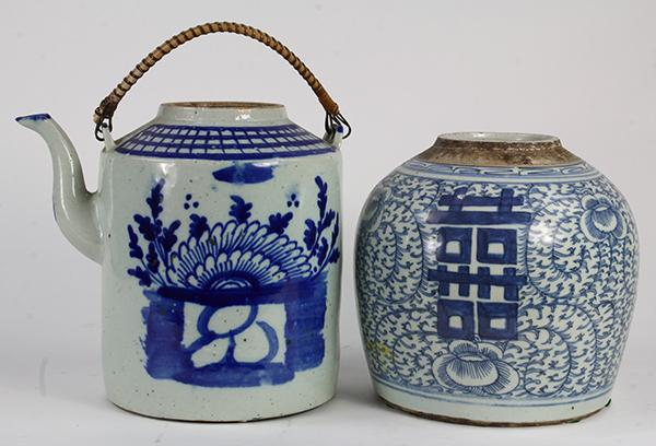 Chinese Blue-and-White Jar and Teapot