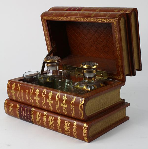 French faux book-form tantalus
