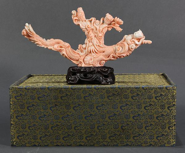 Chinese Figural Coral Carving