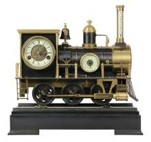 Animated Locomotive Industrial Clock, the bronze case in the form of a steam locomotive, having a stick thermometer on the front of ...