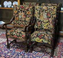 (lot of 4) Jacobean style carved oak arm chairs