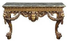 Georgian William Kent style carved giltwood console, 19th century, having a variegated marble top, above the apron with Greek key fr...