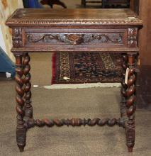 Jacobean stye oak occasional table, 19th century, having a rectangular top, above a single drawer, continuing to barley twist legs, ...