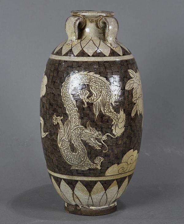 Chinese Cizhou Type Jar, Dragon/Phoenix