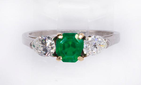 Emerald, diamond, platinum and 14k yellow gold three stone ring