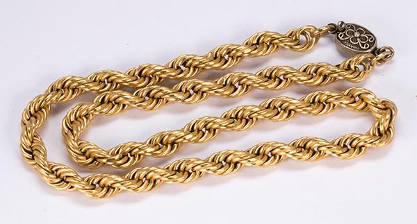 18k yellow gold necklace with a silver clasp