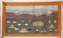 Navajo pictoral blanket, executed in natural dyed polychrome wool, depicting a bucolic pastoral landscape accented with sheep, domic...