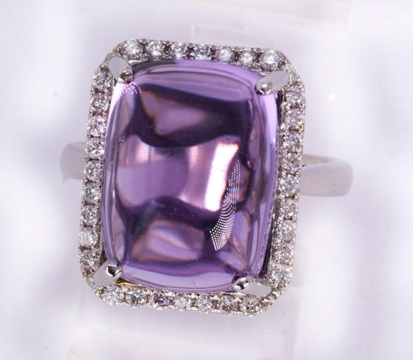 Amethyst, diamond and 14k white gold ring