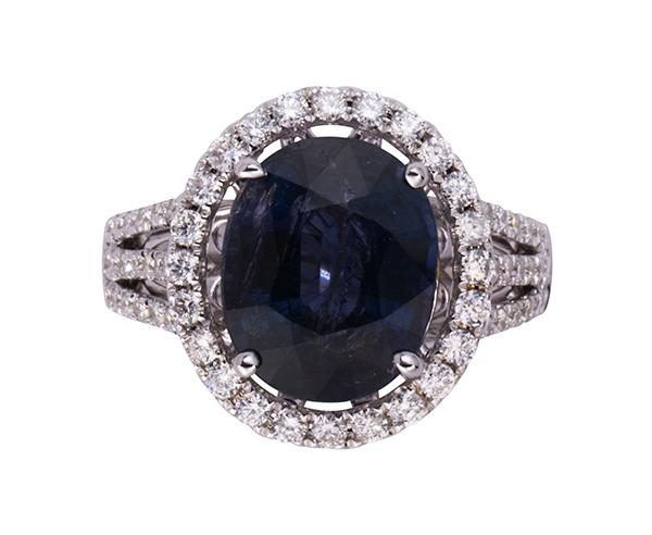 Change of color sapphire, diamond and 14k white gold ring