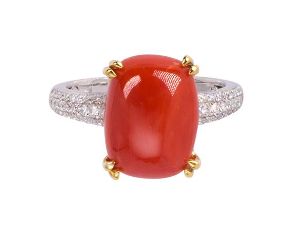 Coral, diamond and 14k two-tone gold ring