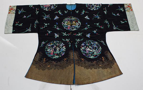 Chinese Embroidered Blue Coat, Figural Roundels