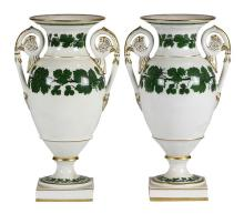 Pair of Meissen porcelain urns