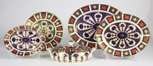 (Lot of 5) Royal Crown Derby Imari table serving pieces, in the classic Imari pallet of navy, orange, and gold, having the Royal Cro...