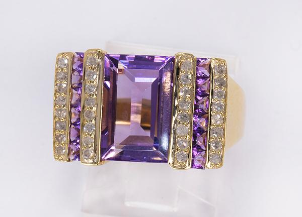 Amethyst, diamond and 10k yellow gold ring