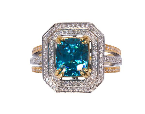 Blue zircon, diamond and 18k gold ring