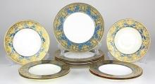 (lot of 13) Royal Worcester plates, retailed by Ovington Brothers, New York, each having a raised gilt border with light blue bandin...