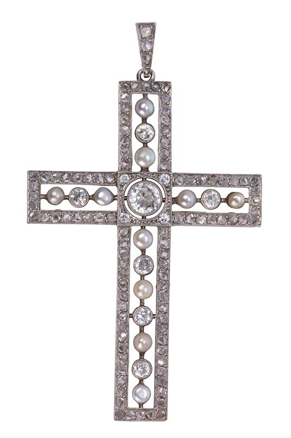 Edwardian diamond, pearl and platinum cross pendant