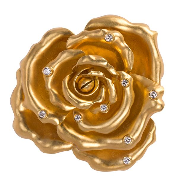 Diamond and 18k yellow gold rose brooch