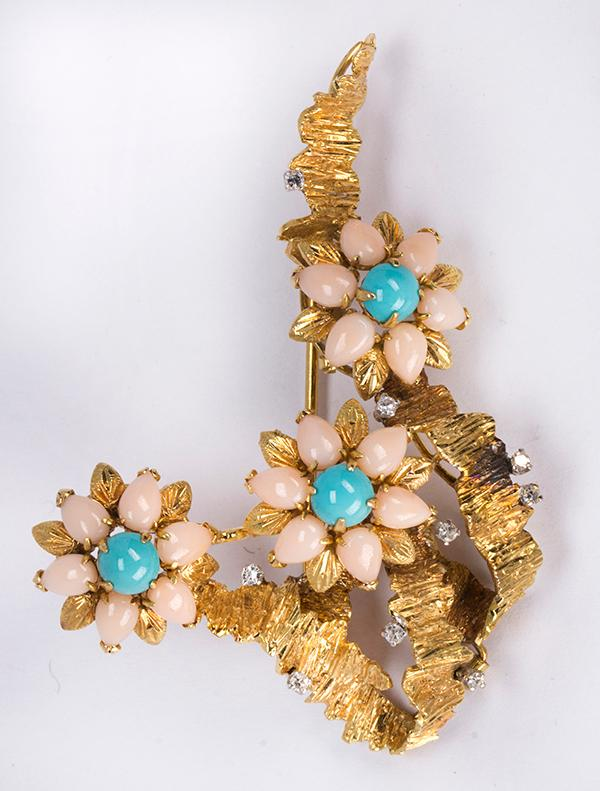 Coral, turquoise, diamond and 14k yellow gold flower brooch