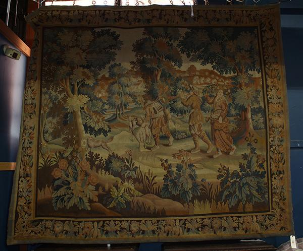 Flemish style scenic tapestry