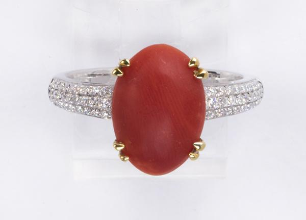 Coral, diamond and 14k white gold ring