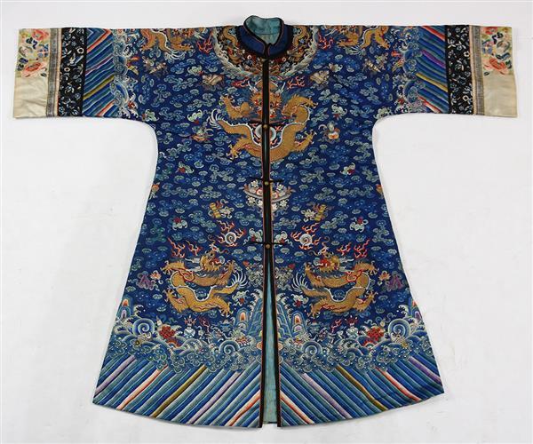 Chinese Button Front Blue Dragon Robe 6e39e4570