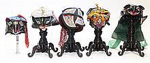 (lot of 5) Chinese Children's Silk Zoomorphic Hats
