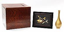 Japanese Jubako Box, Vase,  Panel