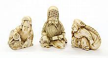 Japanese  Three Ivory Netsuke, 19c