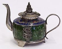 Chinese Cloisonne-Hardstone Teapot, 19c.
