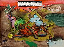 Painting, Archie Rand, David and Goliath
