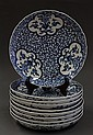Nine Japanese Blue-and-white Imari Dishes, Meiji