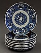 Seven Japanese Blue-and-White Imari Porcelain,  Meiji