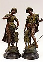 Pair of spelter sculptures, after Moreau