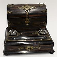 English domed stationery box and inkstand