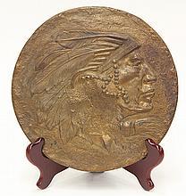 Art Nouveau patinated bronze bas relief plaque