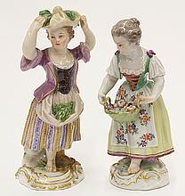 (lot of 2) Meissen porcelain figurines
