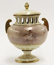 Royal Vienna polychrome decorated covered urn