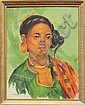 Painting, Oscar Navarro, Fillipino Woman, Oscar T Navarro, Click for value