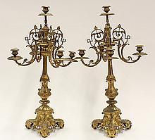 Pair of Continental Neoclassical style gilt candelabra