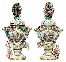 Pair of Meissen covered urns