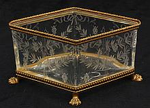 French gilt bronze mounted etched crystal dresser box attributed to Baccarat