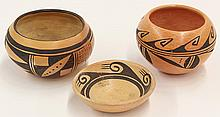 (Lot of 3) Native American Hopi pottery group, consisting of two small bowls and a dish, each having repeating geometric patterns, t...